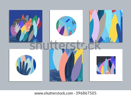 Collection of creative cards and posters with floral elements. Hand drawn textures. Design for poster, card, invitation, placard, brochure, flyer. Vector. Isolated. - stock vector