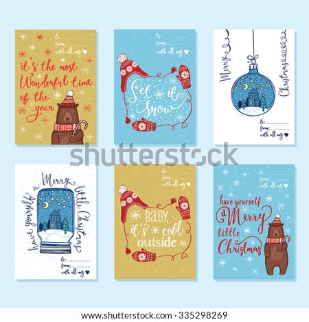 Collection of 6 creative Christmas greeting cards. Christmas ornaments, knitted winter hat and mittens, funny winter bear in knitted hat and scarf with peppermint lollipop. Handwritten lettering - stock vector