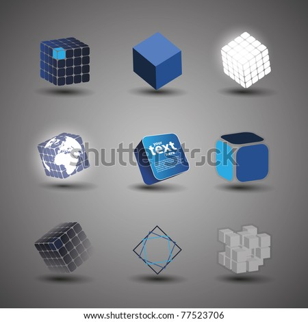 Collection Of Cube Designs - stock vector