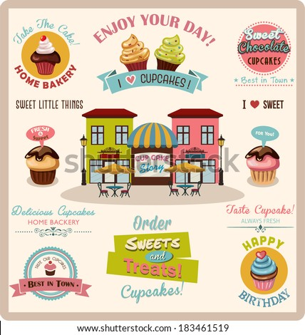 Collection of Cupcake Design Elements.Vector Illustration - stock vector