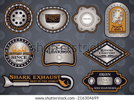 Collection of customizable motor sport steel labels - stock vector