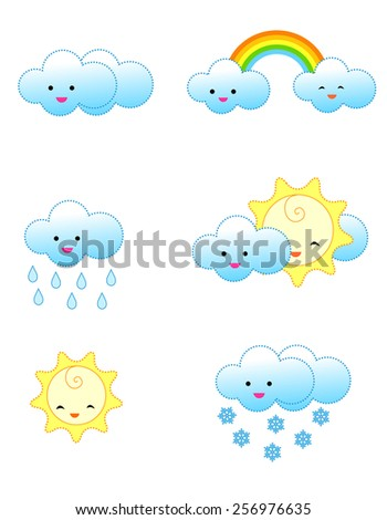 Collection of cute and colorful weather related icons isolated on white background - stock vector
