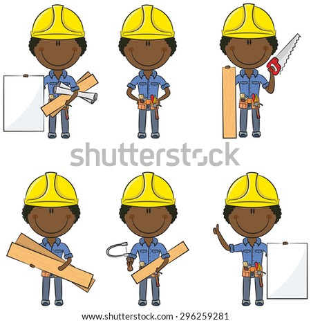 Collection of cute and smart African-American carpenters - stock vector