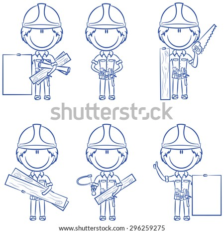 Collection of cute and smart carpenters - stock vector
