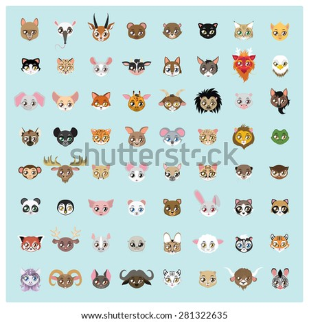Collection of 64 cute animal portraits - stock vector
