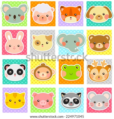 collection of cute animals over polka dotted patterns (swatches included). - stock vector