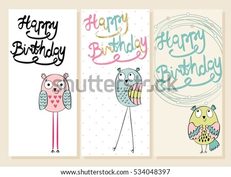 Collection Of Cute Artistic Cards For Kids Funny Owls In Vector Greeting Card
