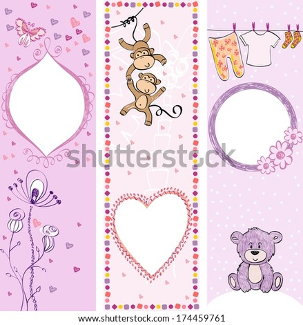 Collection of  cute baby  banners with animals. - stock vector