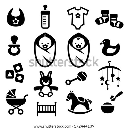Collection of cute baby icons - stock vector