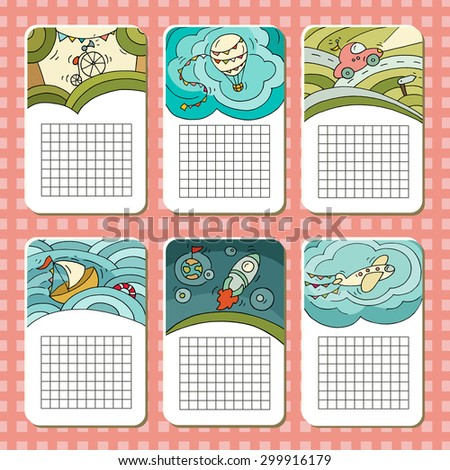 Collection of cute blocks for cards, notes,stickers, tags on travel theme.Template for scrapbooking, notebooks, diary, school accessories.Doodle hand-drawn vector illustration with transport for kids. - stock vector
