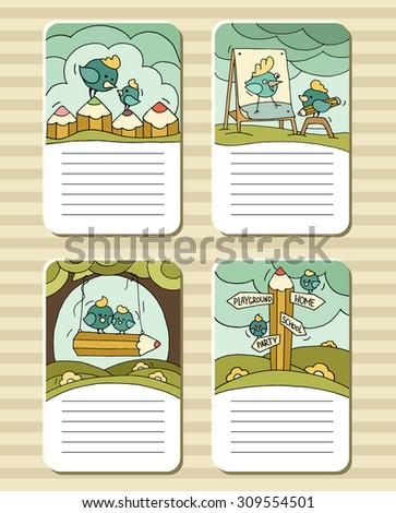 Collection of cute blocks for cards, notes, stickers, tags with birds and pencils. Template for scrapbooking, wrapping, notebooks,diary,school accessories.Doodle hand-drawn vector with birds for kids. - stock vector