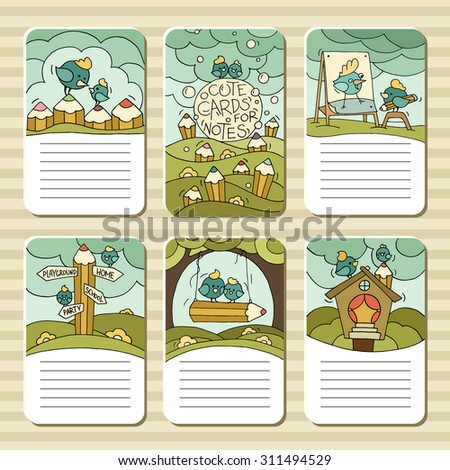 Collection of cute blocks for cards, notes, stickers, tags with birds and pencils. Template for scrapbooking, wrapping, diary, school accessories. Doodle hand-drawn vector with birds for kids. - stock vector