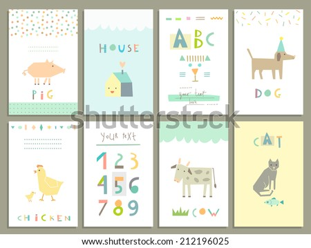 Collection of cute cards for kids. Funny Farm Animals in vector. Learn to read and count. Vector. Isolated. - stock vector