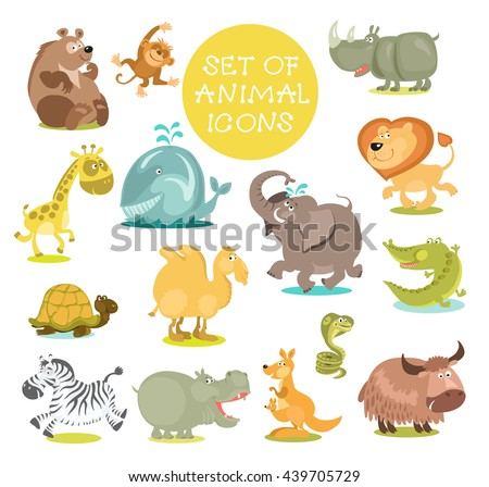 Collection of cute cartoon animals. Hand drawn. Isolated on a white background. Collection of cute cartoon animals. Hand drawn. Isolated on a white background.  - stock vector