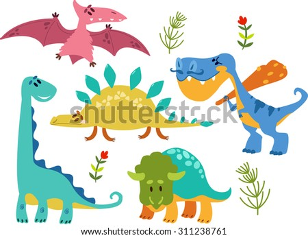 Collection of Cute Cartoon Dinosaurs 1. Simple, isolated on white background