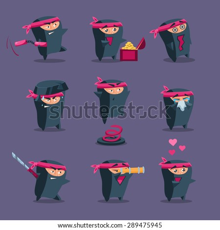Collection of cute cartoon ninja warriors with various weapon, vector - stock vector