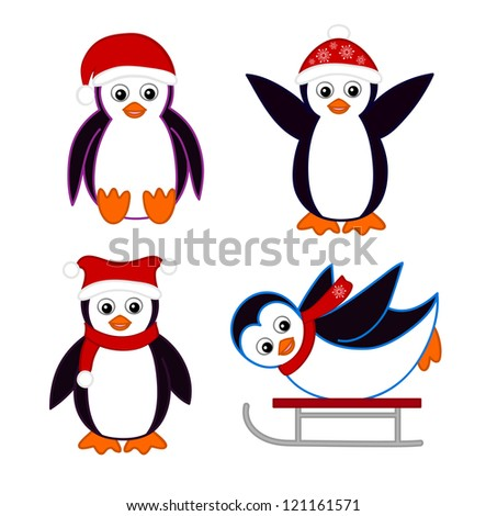 Collection of cute cartoon penguins wearing red hats and scarves. - stock vector