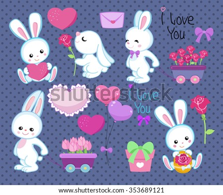 Collection of cute cartoon rabbits spring with gifts, hearts and flowers Isolated on a polka dot background.Vector illustration - stock vector