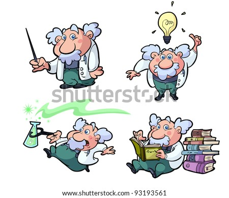 collection of cute cartoon science professors - stock vector