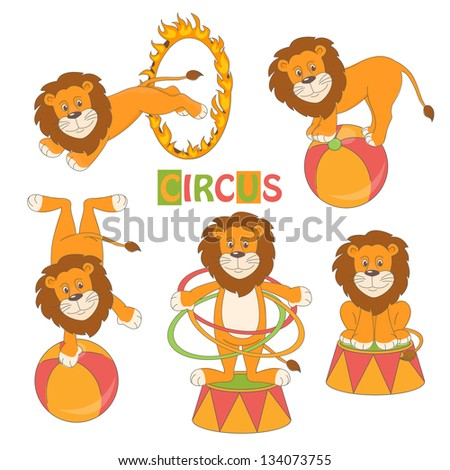 Collection of cute circus lion on white background . Vector illustration - stock vector