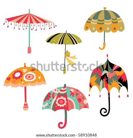 Collection of cute colorful umbrellas. - stock vector