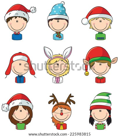 Collection of cute Cristmas children avatars - stock vector