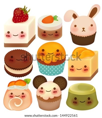 Collection of Cute Dessert - Vector File EPS10 - stock vector
