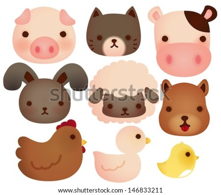 Collection of cute farm animals - Vector  file EPS10 - stock vector