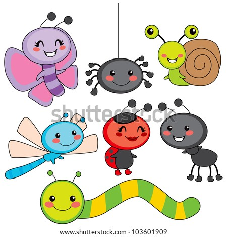Collection of cute funny colorful happy little bugs smiling - stock vector