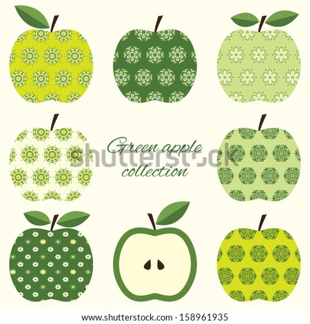 Collection of cute green ornamental apples.