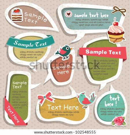 Collection of cute grunge speech bubbles text box and scrapbook elements - stock vector