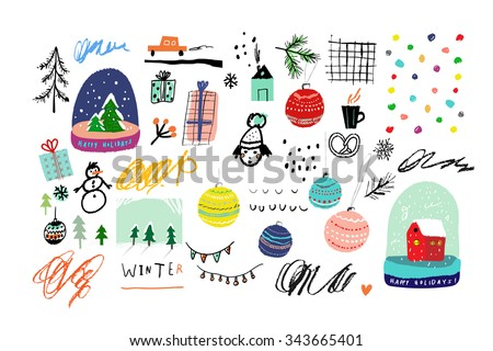 Collection of Cute hand drawn winter elements. Vector illustration. Templates for greeting scrapbooking, congratulations, invitations. Design set for winter holidays. Isolated. - stock vector