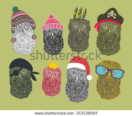 Collection of cute owls in costumes. Vector illustration. - stock vector