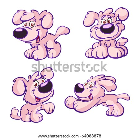 collection of cute pink dog - stock vector