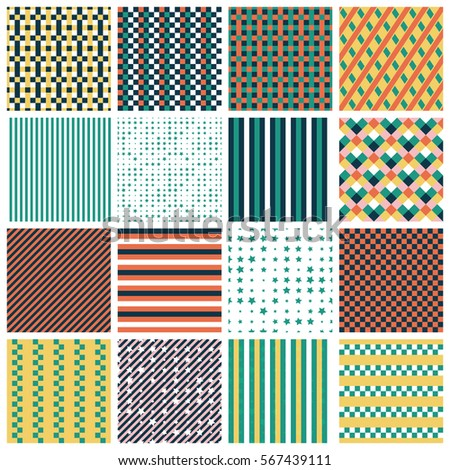 Collection of 16 cute seamless patterns with stripes, stars, bricks. Geo seamless pattern with green, orange and gold. Useful for  fabric print, wrapping paper, scrap booking, web design