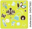 collection of cute stickers for your design - stock vector