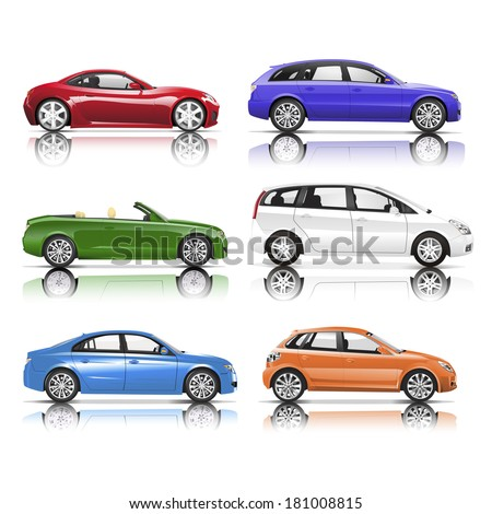 Collection of 3D Cars Vector - stock vector