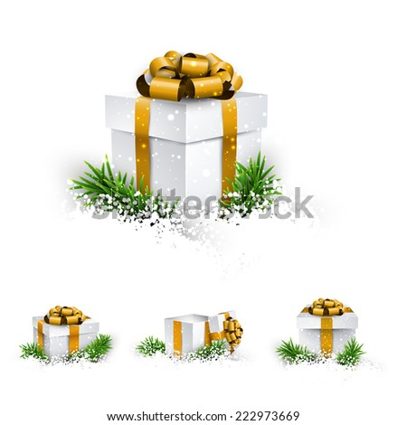 Collection of 3d christmas gift boxes with satin golden bows. Realistic vector illustration.  - stock vector