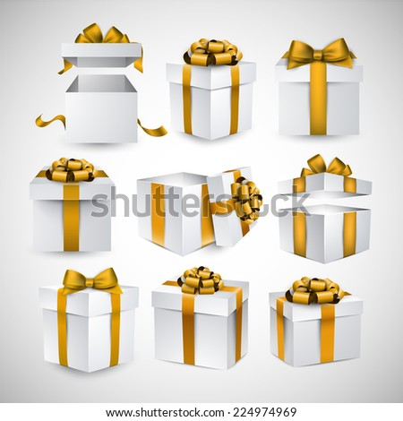 Collection of 3d gift boxes with satin golden bows. Realistic vector illustration.  - stock vector