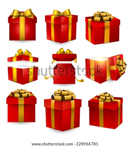 Collection of 3d gift red boxes with satin golden bows. Realistic vector illustration.  - stock vector