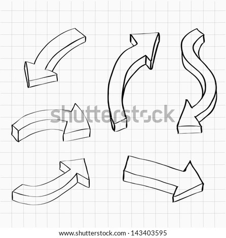 Collection of 3D hand-drawn arrows