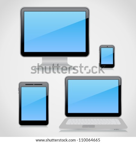 Collection of 3d high-detailed computer devices on light background with reflections. Image contains transparency, 10 EPS - stock vector