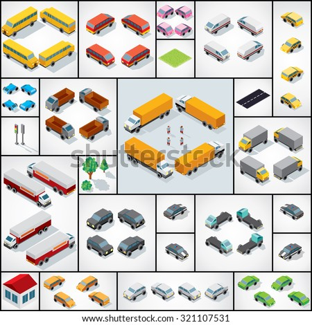Collection of 3D Isometric Cars,Trucks, Buses, Vans. Vector Icon Set - stock vector
