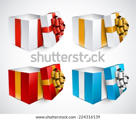 Collection of 3d opened gift boxes with satin bows. Realistic vector illustration.  - stock vector