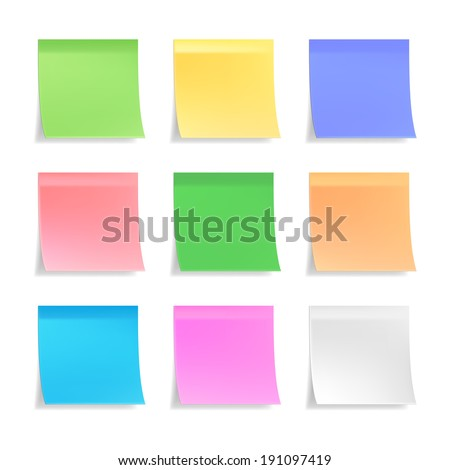 Collection of 3d vector sticky notes or post its in nine different pastel colors on white with curled bottom edges and shadow  blank for your message or text
