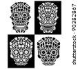 collection of day of the dead skulls - stock vector
