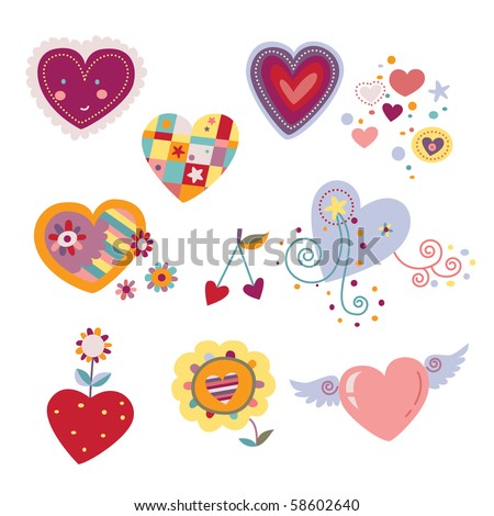 Collection of decorative hearts. - stock vector