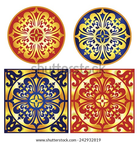 Collection of decorative ornament with traditional medieval European elements - illustration, vector