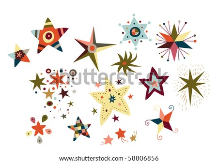 Collection of decorative stars. - stock vector