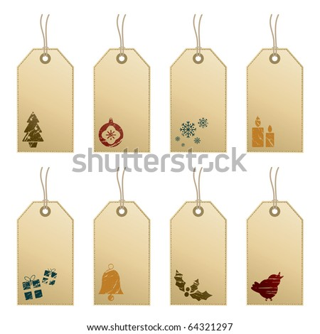collection of decorative tags with christmas motifs - stock vector
